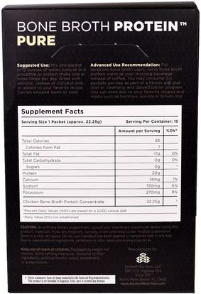 الصحة، العظام، هشاشة العظام، الصحة المشتركة، مرق العظام، المكملات الغذائية، البروتين Ancient Nutrition, Bone Broth Protein, Pure, 15 Single Serve Packets.78 oz (22.25 g) Each