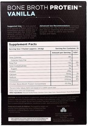 الصحة، العظام، هشاشة العظام، الصحة المشتركة، مرق العظام، المكملات الغذائية، البروتين Ancient Nutrition, Bone Broth Protein, Vanilla, 15 Single Serve Packets.87 oz (24.6 g) Each