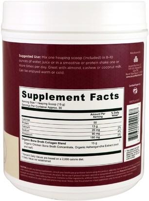 الصحة، العظام، هشاشة العظام، الصحة المشتركة، مرق العظام، المكملات الغذائية، البروتين Ancient Nutrition, Organic Bone Broth Collagen, Pure, 15.9 oz (450 g)