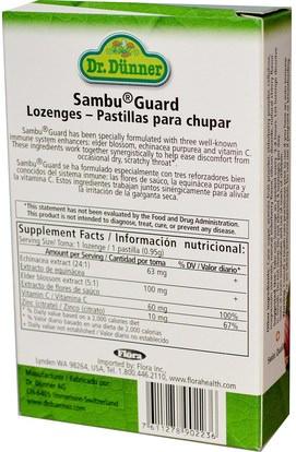 والصحة، والانفلونزا الباردة والفيروسية، إلديربيري (سامبوكوس)، والنباتات Flora, Dr. Dunner, Sambu Guard, 40 Lozenges