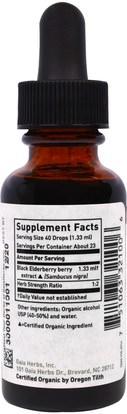 الصحة، الإنفلونزا الباردة والفيروسية، إلديربيري (سامبوكوس) Gaia Herbs, Organic Elderberry, 1 fl oz (30 ml)