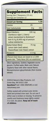 الصحة، الإنفلونزا الباردة والفيروسية، إلديربيري (سامبوكوس) Natures Way, Sambucus, NightTime, Standardized Elderberry, 4 fl oz (120 ml)