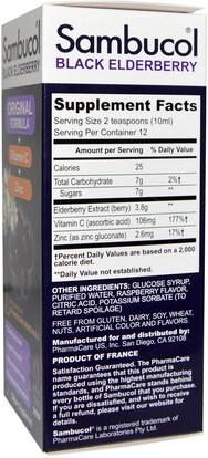 الصحة، الإنفلونزا الباردة والفيروسية، إلديربيري (سامبوكوس) Sambucol, Black Elderberry, Original Formula, Vitamin C Plus Zinc, Syrup, 4 fl oz (120 ml)