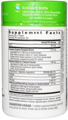 الصحة، السموم Rainbow Light, Candida Cleanse, 60 Tablets