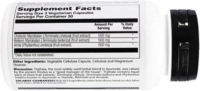 الصحة، السموم، تريفالا Solaray, Ayurvedic Herbs, Triphala, 500 mg, 90 Veggie Caps