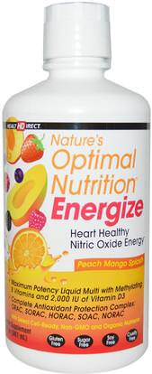 Health Direct, Natures Optimal Nutrition, Energize, Peach Mango Splash, 30 fl oz (887 ml) ,الفيتامينات، الفيتامينات السائلة