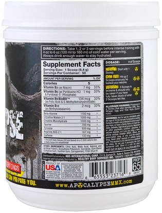 والصحة، والطاقة، والرياضة MuscleMaxx, PRE APOCALYPSE, Pre-Workout, Arginine + Taurine + Creatine + Beta-Alanine, Blue Wraithberry, 11.28 oz (320 g)