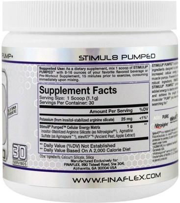 والصحة، والطاقة، والرياضة، تجريب Finaflex, Stimul8 Pumped, Unflavored, 11 oz (32 g)