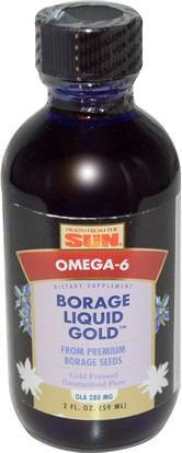 Health From The Sun, Borage Liquid Gold, 2 fl oz (59 ml) ,المكملات الغذائية، إيفا أوميجا 3 6 9 (إيبا دا)، بوريج النفط، بوريج النفط السائل