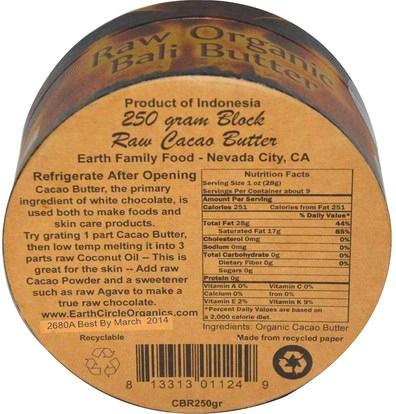 الصحة، الجلد، زبدة الكاكاو، الغذاء، الكاكاو (الكاكاو) الشوكولاته Earth Circle Organics, Raw Organic Bali Butter (Cacao), 250 g
