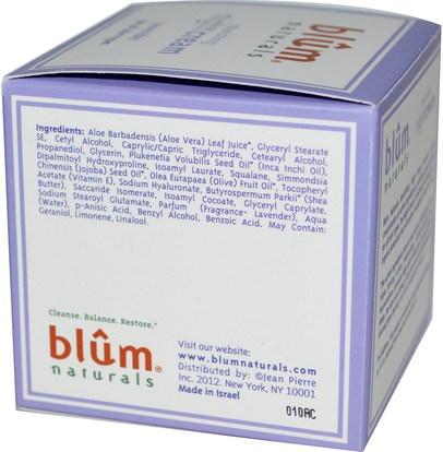 الصحة، الجلد، الليل الكريمات، الجمال، العناية بالوجه Blum Naturals, Nourishing Night Cream, Lavender, 1.69 oz (50 ml)