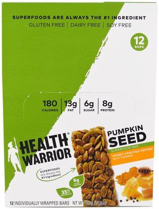 Health Warrior, Inc., Pumpkin Seed Superfood Bar, Honey Cracked Pepper with Turmeric, 12 Bars, 1.23 oz (35 g) Each ,الطعام، الوجبات الخفيفة، الوجبات الصحية الصحية، المكملات الغذائية، الحانات الغذائية