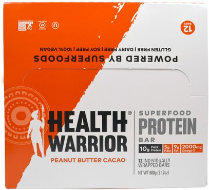 Health Warrior, Inc., Superfood Protein Bar, Peanut Butter Cacao, 12 Bars, 50 g Each ,والرياضة، والبروتين أشرطة