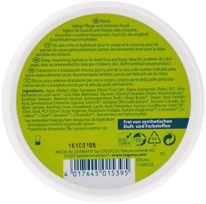 الصحة، المرأة، الجلد Logona Naturkosmetik, Daily Care, Skin Cream, Aloe & Verveine, 5.1 oz (150 ml)