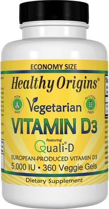 Healthy Origins, Vegetarian Vitamin D3, 5,000 IU, 360 Veggie Gels ,الفيتامينات، فيتامين d3