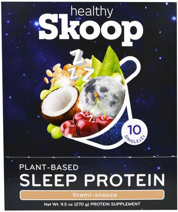 Healthy Skoop, Plant-Based Sleep Protein, Tirami-Snooze, 10 Packets, 0.95 oz (27 g) Each ,والمكملات الغذائية، والبروتين، والنوم