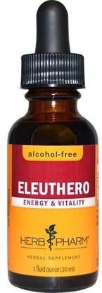 Herb Pharm, Eleuthero, Alcohol-Free, 1 fl oz (30 ml) ,المكملات الغذائية، أدابتوغين، الانفلونزا الباردة والفيروسية، الجينسنغ، إليوثيرو