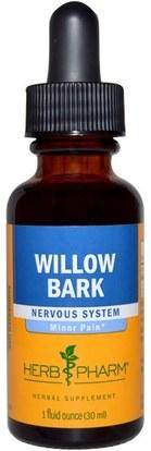 Herb Pharm, Willow Bark, 1 fl oz (30 ml) ,الصحة، إلتهاب، أبيض، الصفصاف، أنبح