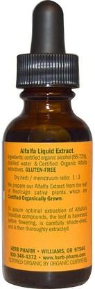 الأعشاب، البرسيم Herb Pharm, Alfalfa, Whole Leaf, 1 fl oz (29.6 ml)