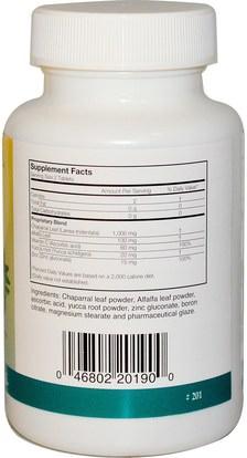 الأعشاب، تشابارال Arizona Natural, Chaparral, Yucca, Vit.C, Zinc & Alfalfa, 500 mg, 90 Tablets