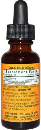 الأعشاب، حرير الذرة Herb Pharm, Corn Silk, 1 fl oz (30 ml)