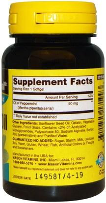 الأعشاب، النعناع Mason Naturals, Peppermint Oil, 50 mg, 90 Softgels