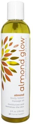 Home Health, Almond Glow, Body Lotion, Almond, 8 fl oz (236 ml) ,والصحة، والجلد، وزيت التدليك، وزيوت العناية بالجسم