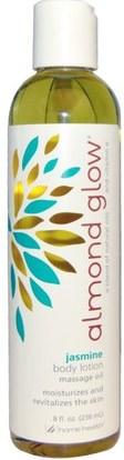 Home Health, Almond Glow, Body Lotion, Jasmine, 8 fl oz (236 ml) ,الصحة، الجلد، زيت التدليك