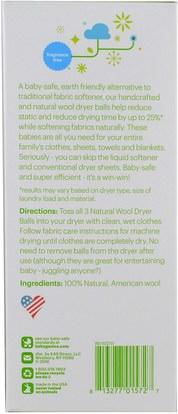 المنزل، الغسيل BabyGanics, Natural Wool Dryer Balls, 3 Wool Dryer Balls