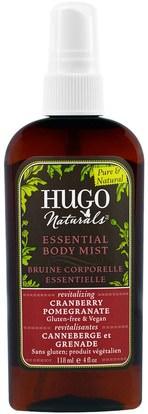 Hugo Naturals, Essential Body Mist, Cranberry Pomegranate, 4 fl oz (118 ml) ,حمام، الجمال، هدية مجموعات، بخاخ العطور