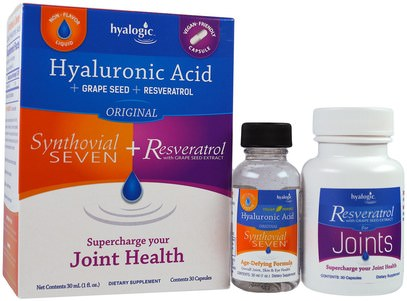 Hyalogic LLC, Hyaluronic Acid, Synthovial Seven + Resveratrol, 1 Kit ,المكملات الغذائية، ريسفيراترول، مكافحة الشيخوخة