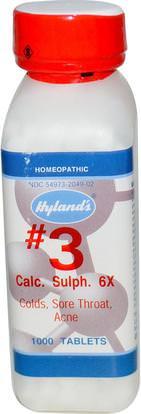 Hylands, #3 Calc. Sulph. 6X, 1000 Tablets ,والصحة، والانفلونزا الباردة والفيروسية، ورذاذ الرعاية الحلق والبرد والانفلونزا