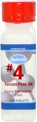 Hylands, #4, Ferrum Phos, 6X, 500 Tablets ,المكملات الغذائية، المثلية، والتهاب