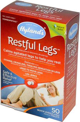Hylands, Restful Legs, 50 Quick-Dissolving Tablets ,المكملات الغذائية، المثلية، النساء، الدوالي الرعاية الوريد