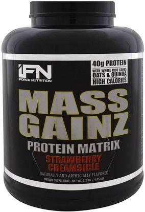 iForce Nutrition, Mass Gainz Protein Matrix, Strawberry Creamsicle, 4.85 lbs (2.2 kg) ,والرياضة، والمكملات الغذائية، بروتين مصل اللبن