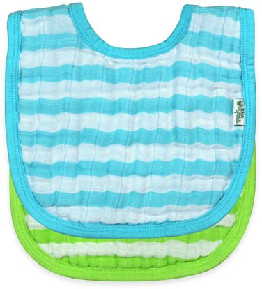 iPlay Inc., Green Sprouts, Muslin Bibs, 0-12 Months, Aqua & Green Set, 2 Pack ,صحة الأطفال، والأغذية للأطفال