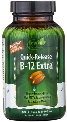 Irwin Naturals, B-12 Extract, Quick Release, 60 Liquid Soft-Gels ,الفيتامينات، وفيتامين ب، وفيتامين ب 12، وفيتامين ب 12 - سيانوكوبالامين