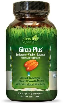 Irwin Naturals, Ginza-Plus, 75 Liquid Soft-Gels ,والصحة، والطاقة، والانفلونزا الباردة والفيروسية، الجينسنغ
