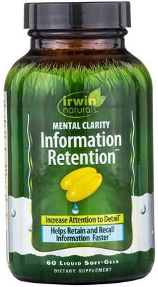 Irwin Naturals, Information Retention, Mental Clarity, 60 Liquid Soft-Gels ,والصحة، واضطراب نقص الانتباه، إضافة، أدهد والدماغ والذاكرة والدماغ والوظيفة المعرفية