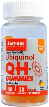 Jarrow Formulas, Ubiquinol QH-Gummies, Sugar Free, Mango Flavor, 50 mg, 30 Gummies ,المكملات الغذائية، مضادات الأكسدة، أوبيكينول خ، أوبيكينول coq10 050 ملغ، غوميز