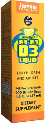 Jarrow Formulas, Yum-Yum D3 Liquid, Lemon Flavor, 0.9 fl oz (27 ml) ,الفيتامينات، فيتامين d3 السائل