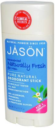 Jason Natural, Deodorant Stick for Men, Unscented, 2.5 oz (71 g) ,حمام، الجمال، مزيل العرق