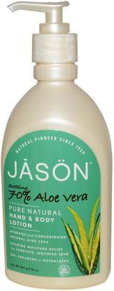 Jason Natural, Pure Natural Hand & Body Lotion, Soothing 70% Aloe Vera, 16 oz (454 g) ,حمام، الجمال، غسول الجسم