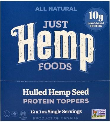 Just Hemp Foods, Hulled Hemp Seed Protein Toppers, 12 Packets, 1 oz (30 g) Each ,المكملات الغذائية، إيفا أوميجا 3 6 9 (إيبا دا)، منتجات القنب، الطعام، بذور المكسرات الحبوب