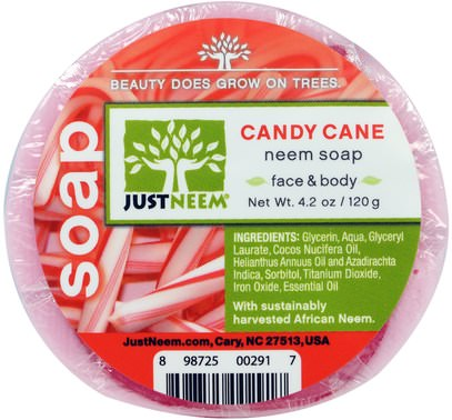 Just Neem, Neem Soap, Candy Cane, 4.2 oz (120 g) ,Herb-sa