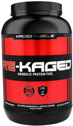 Kaged Muscle, Re-Kaged, Anabolic Protein Fuel, Strawberry Lemonade, 2.07 lbs (940 g) ,والرياضة، والعضلات، والبروتين، بروتين الرياضة