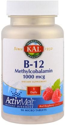 KAL, B-12 Methylcobalamin, Red Raspberry, 1000 mcg, 90 Micro Tablets ,الفيتامينات، فيتامين ب، فيتامين ب 12