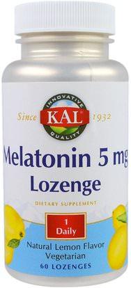 KAL, Melatonin Lozenge, Natural Lemon Flavor, 5 mg, 60 Lozenges ,Herb-sa