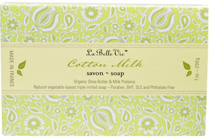 La Belle Vie, Cotton Milk Bar Soap, 7 oz (200 g) ,حمام، الجمال، الصابون