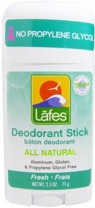 Lafes Natural Body Care, All Natural Deodorant Stick, Fresh, 2.5 oz (71 g) ,حمام، الجمال، مزيل العرق